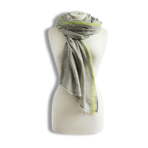 Grey & Yellow Herringbone Print Scarf - The Love Trees