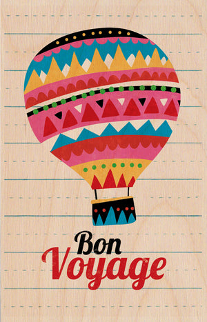 Bon Voyage Balloon Wooden Postcard Greeting Card - The Love Trees