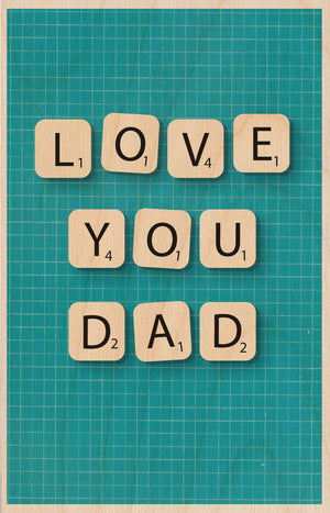 Scrabble Love You Dad Wooden Postcard Greeting Card - The Love Trees