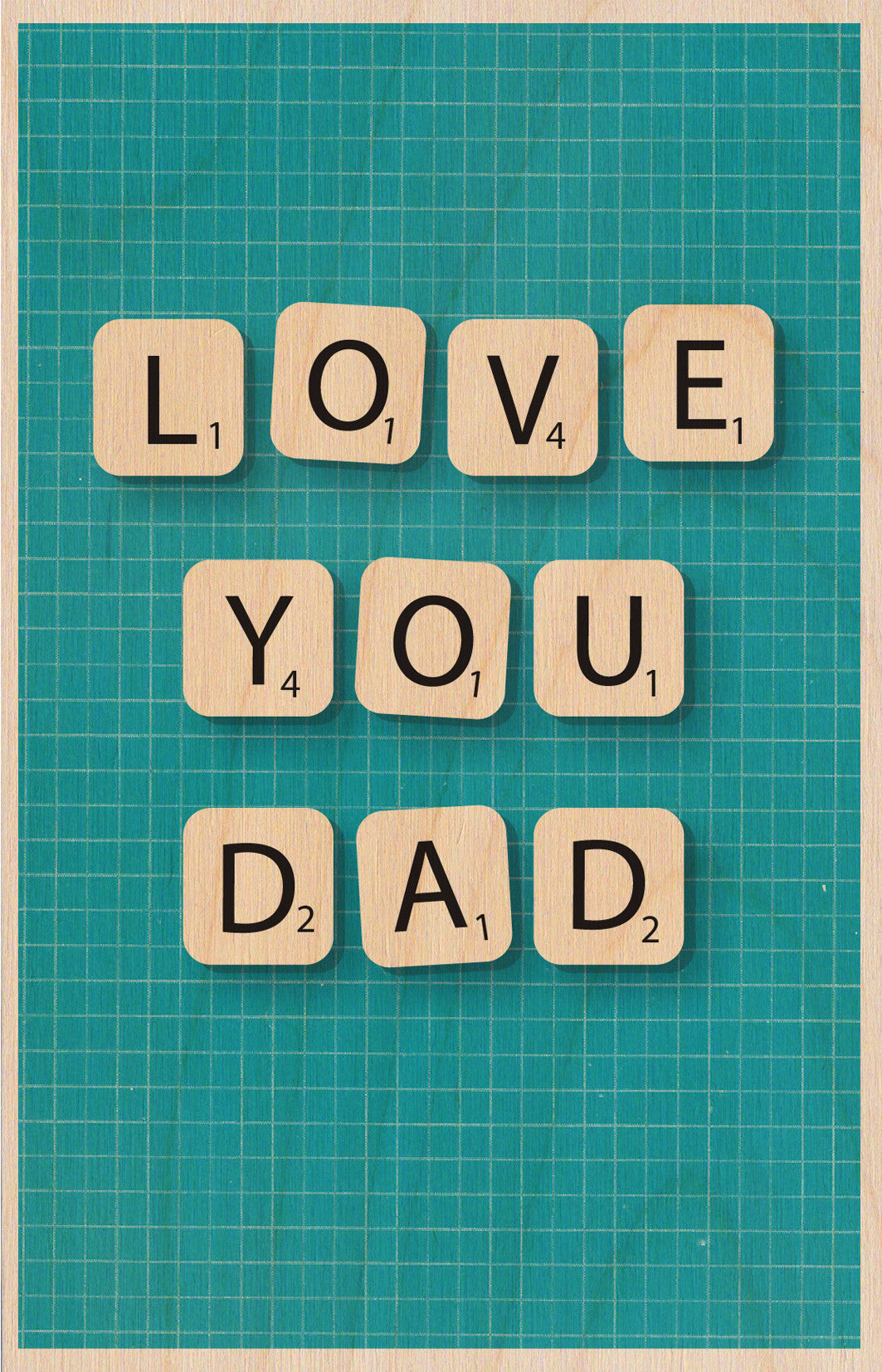Scrabble Love You Dad Wooden Postcard Greeting Card