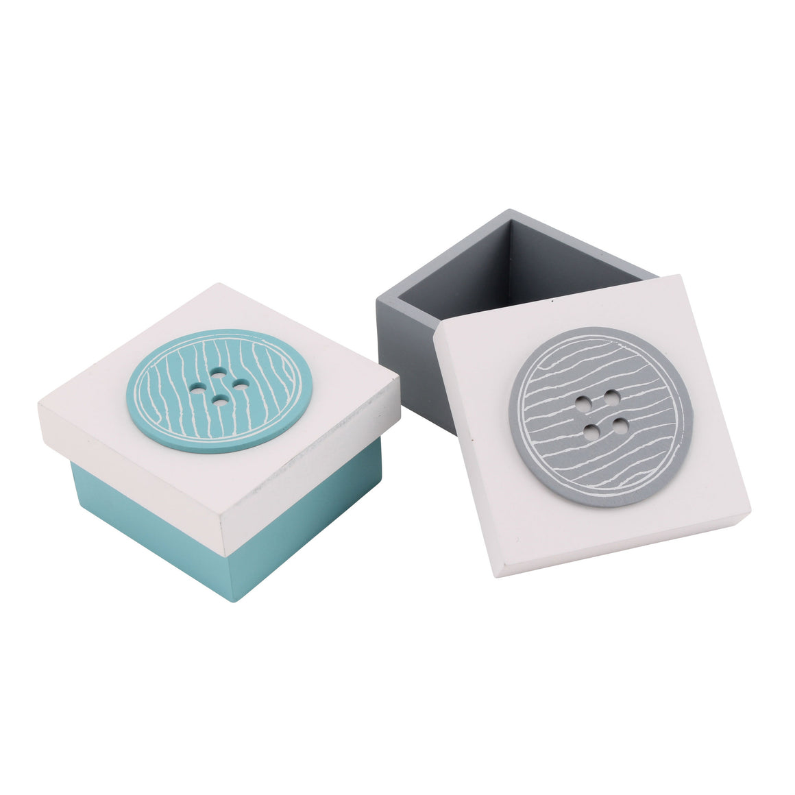 Set of 2 Wooden Button Boxes - The Love Trees