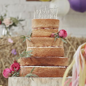 Just Married Wooden Cake Topper - Boho - The Love Trees