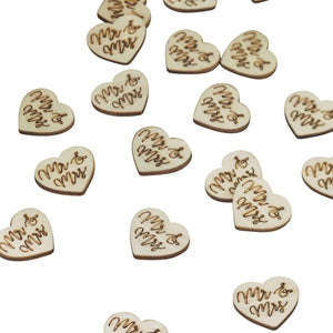 Mr & Mrs Wooden Table Confetti - Boho