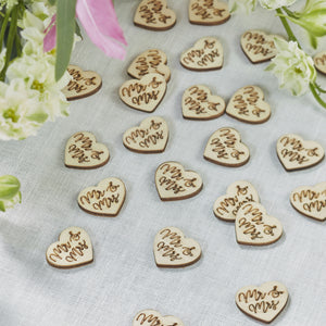 Mr & Mrs Wooden Table Confetti - Boho - The Love Trees