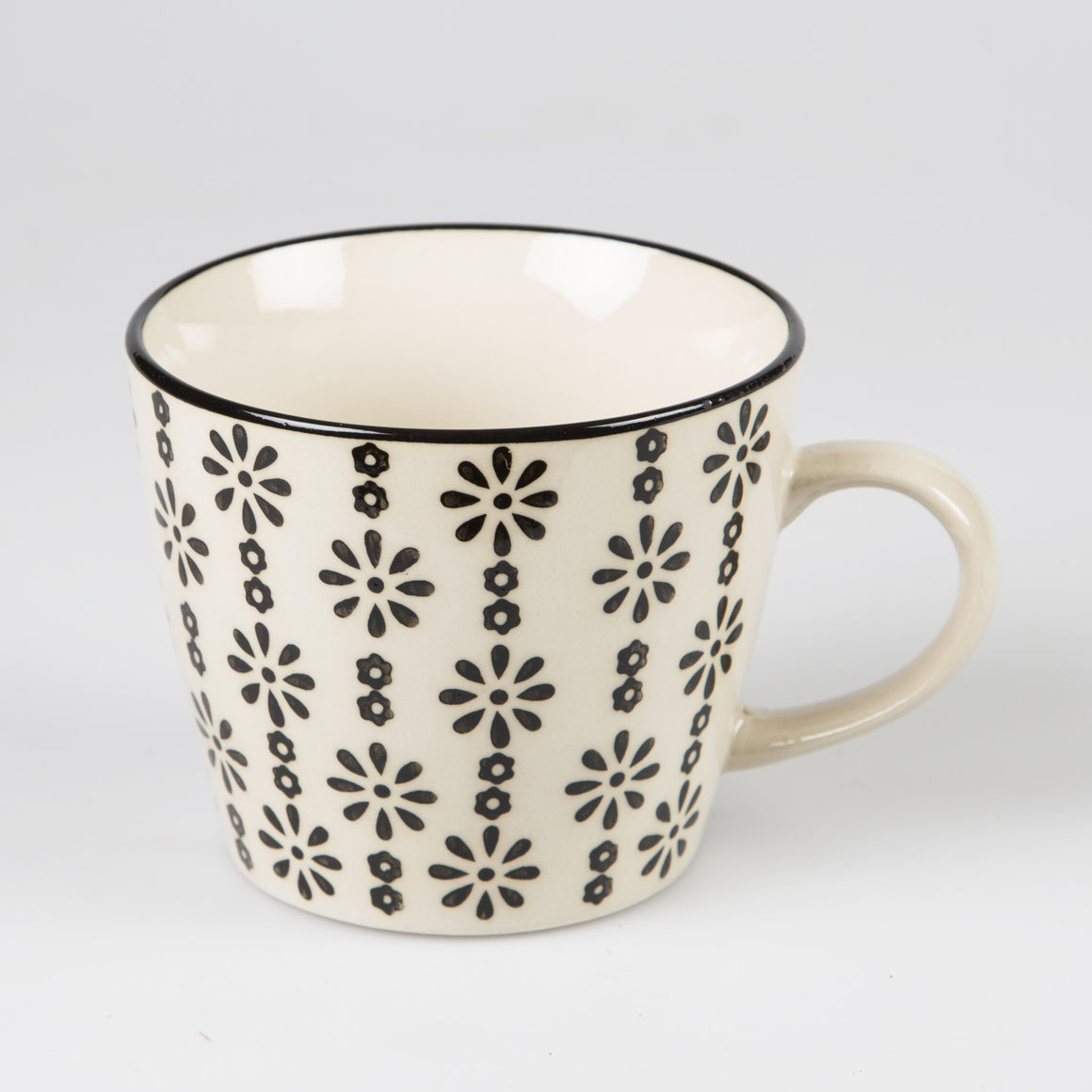 Agatha Daisy Print Mug Black - The Love Trees