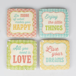 Set of 4 Modern Morocco Expression Tile Coasters - The Love Trees