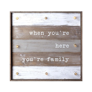 Family Light Up Sign In Pastel Wood - The Love Trees