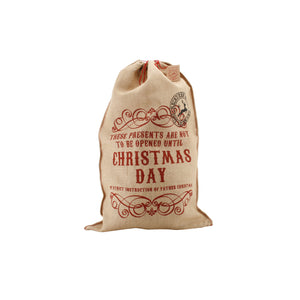 'These Presents Are Not To Be Opened Until Christmas Day' Hessian Santa Sack - The Love Trees