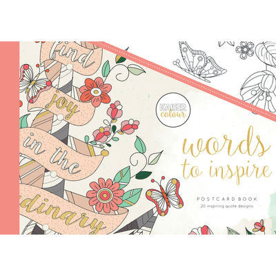 KaiserColour Words To Inspire Postcards Colouring Book - The Love Trees