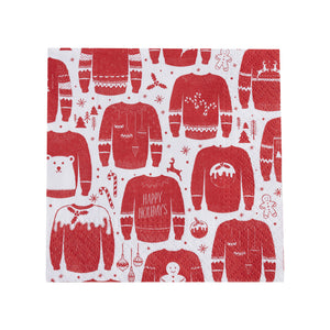 Red And White Festive Christmas Jumper Cocktail Napkins - The Love Trees