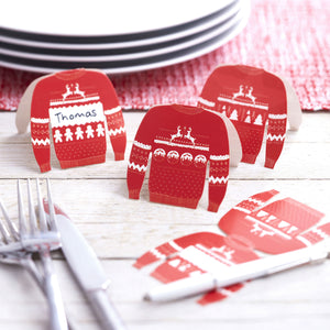 Red And White Festive Christmas Jumper Place Cards - The Love Trees