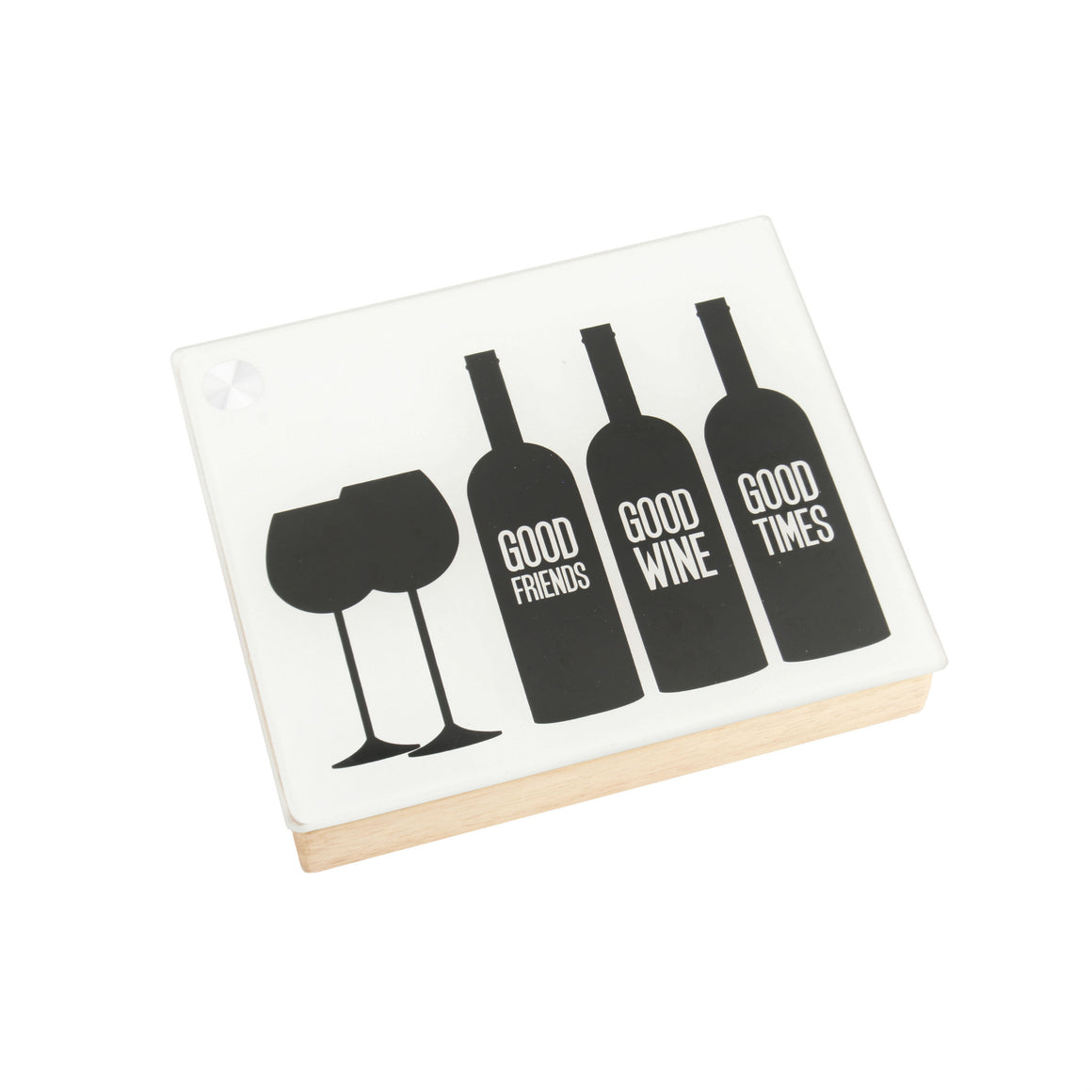 'Good Friends, Good Wine, Good Times' Glass Top Wooden Set - The Love Trees