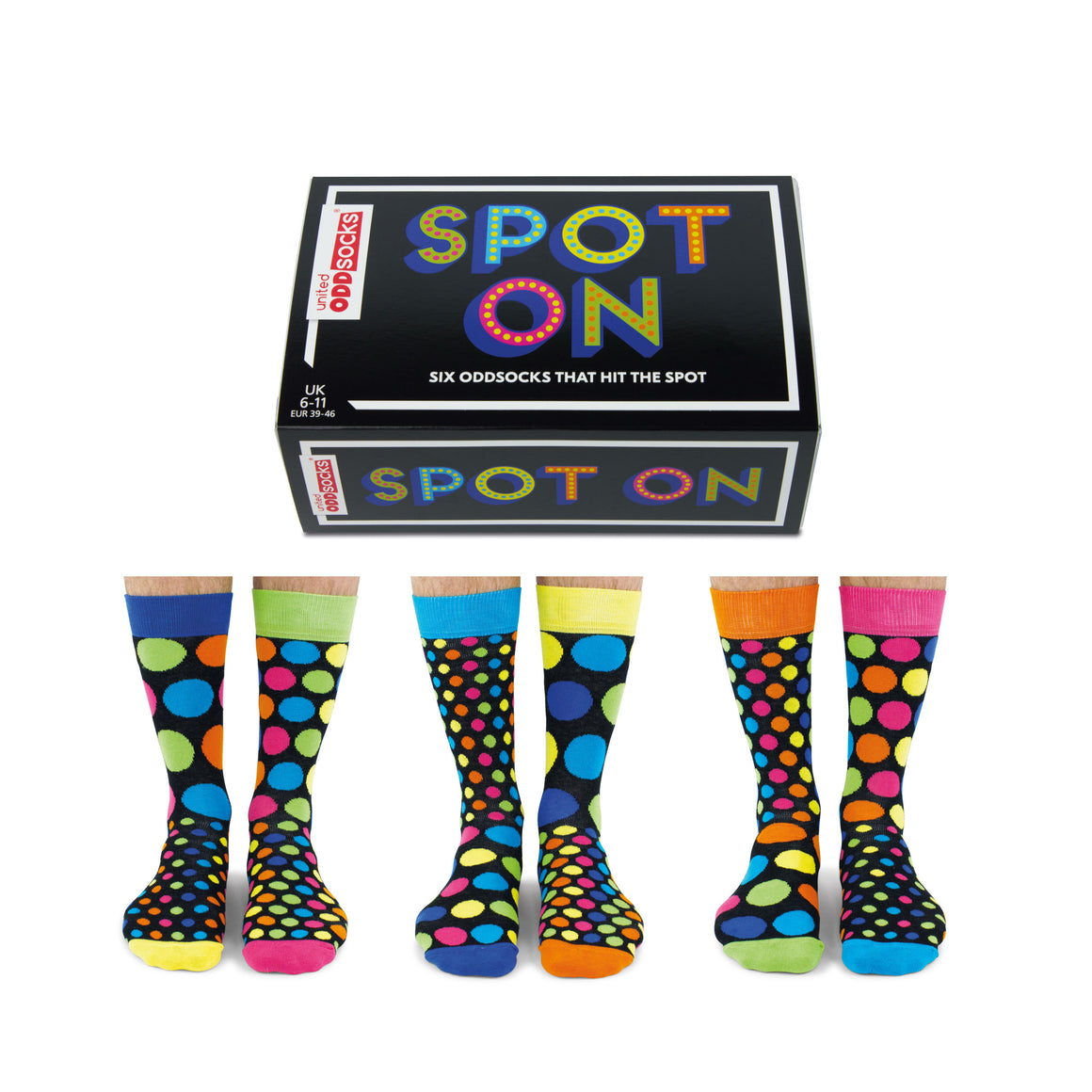 United Odd Socks Spot On Mens Gift Box - The Love Trees