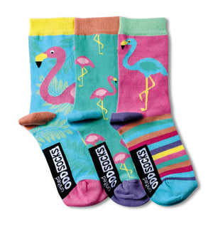 United Odd Socks Flamingo Girls 3 Pack - The Love Trees