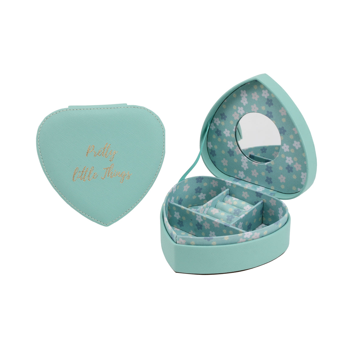 Willow & Rose 'Pretty Little Things' Teal Heart Jewellery Box