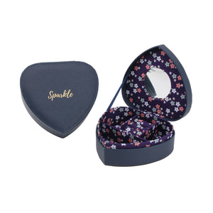Willow & Rose 'Sparkle' Navy Heart Jewellery Box