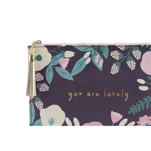 'You Are Lovely' Purple Make Up Bag - The Love Trees