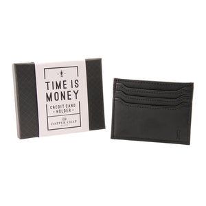Dapper Chap 'Time Is Money' Black Card Holder - The Love Trees