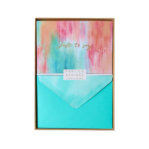 Boxed Notecards Gold Abstract Summer - Just To Say - The Love Trees