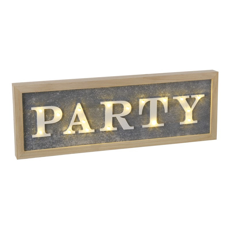 Led Light Up Wooden 'Party' Sign