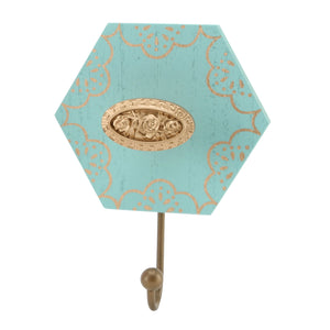 Teal Single Hexagonal Wall Hook