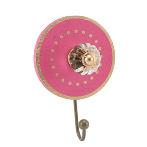 Pink Single Round Wall Hook