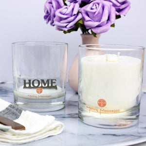 Hidden message candle 'home' silver