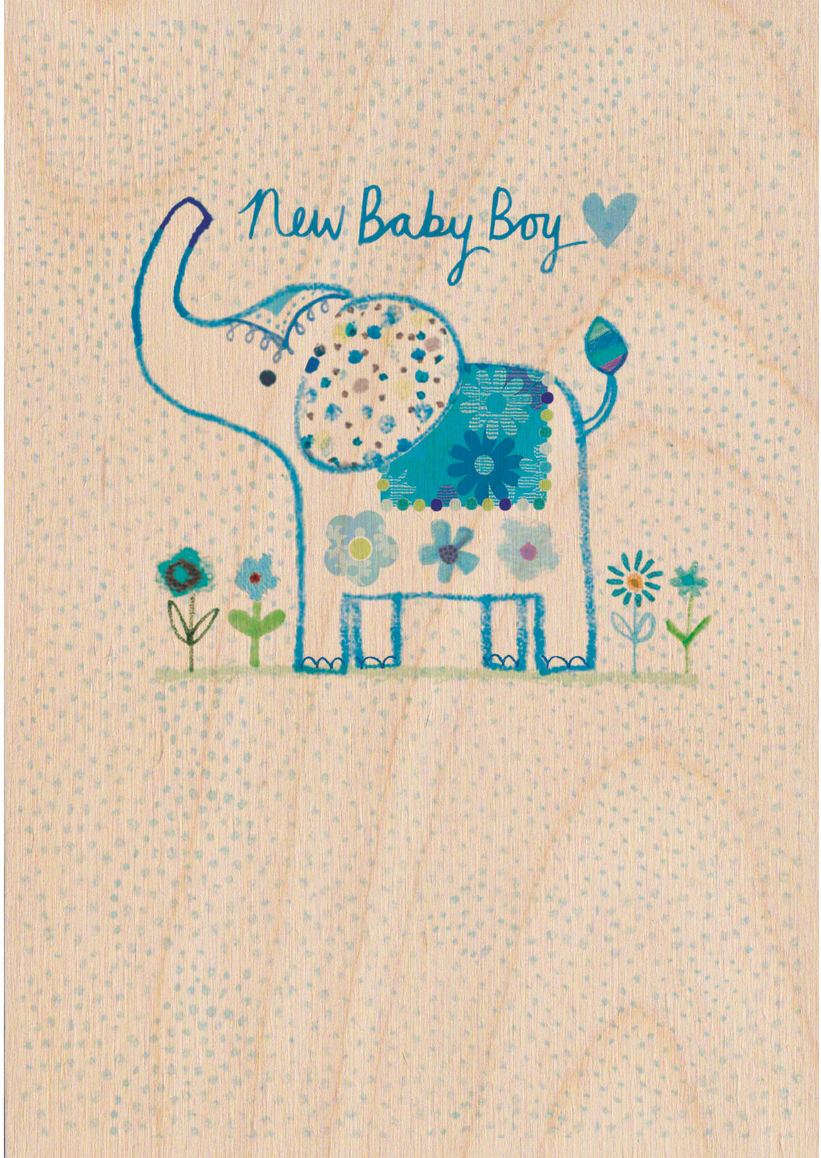 New Baby Boy Wooden Postcard Greeting Card - The Love Trees