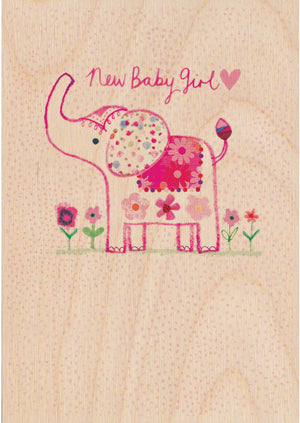 New Baby Girl Wooden Postcard Greeting Card