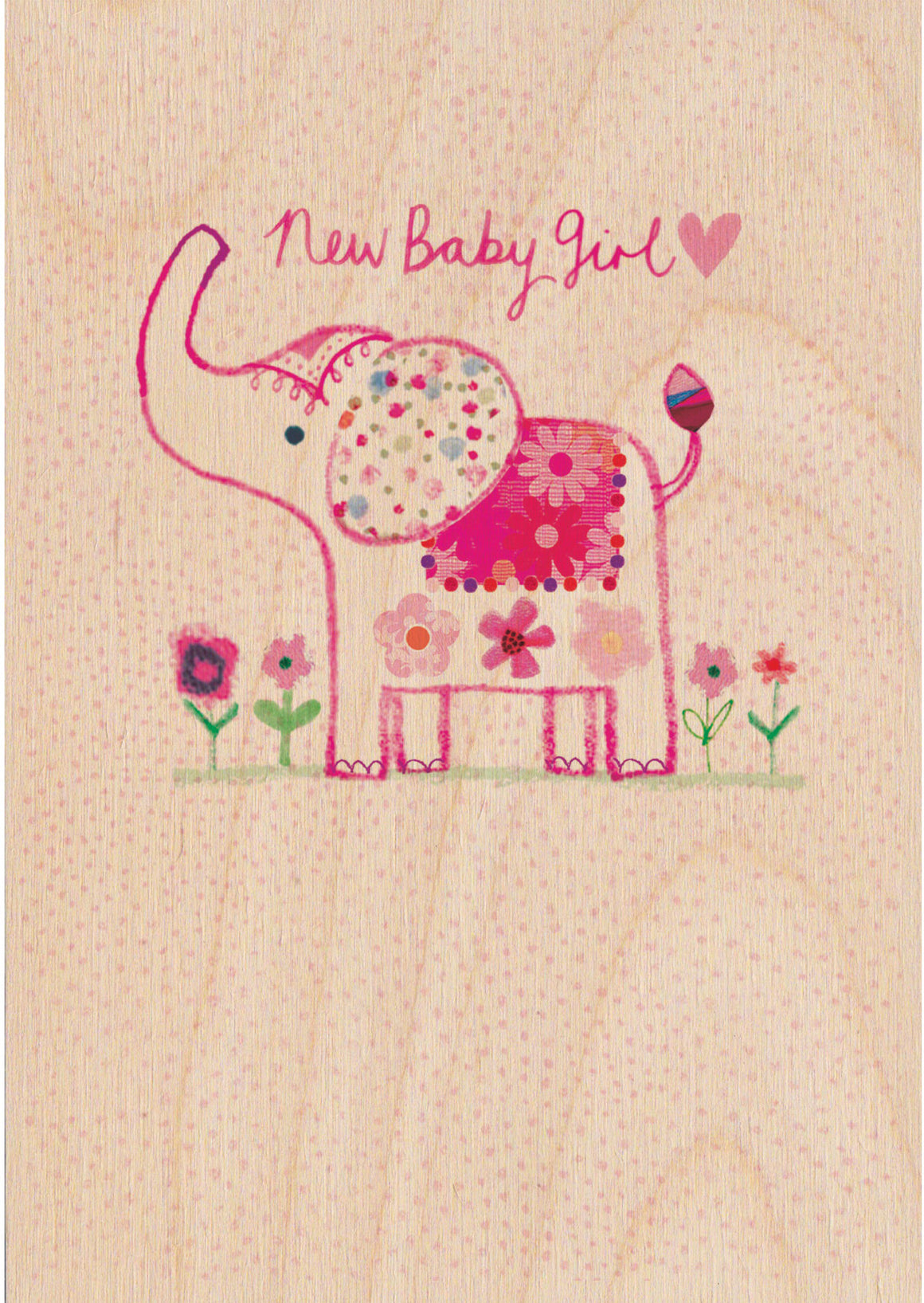 New Baby Girl Wooden Postcard Greeting Card - The Love Trees