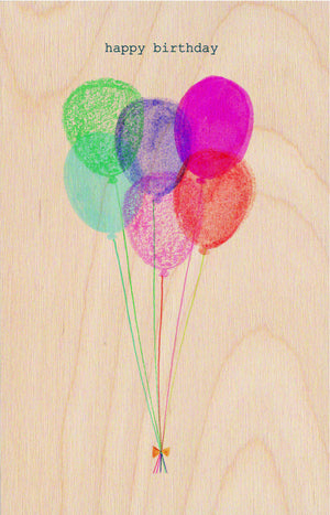 Happy Birthday Balloons Wooden Postcard Greeting Card - The Love Trees