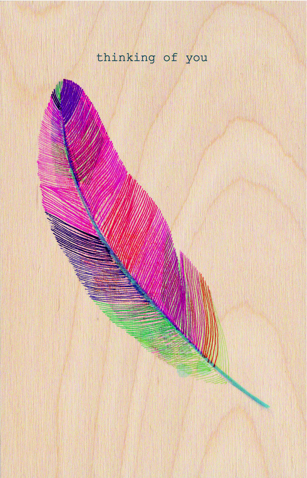 Thinking Of You Feather Wooden Postcard Greeting Card
