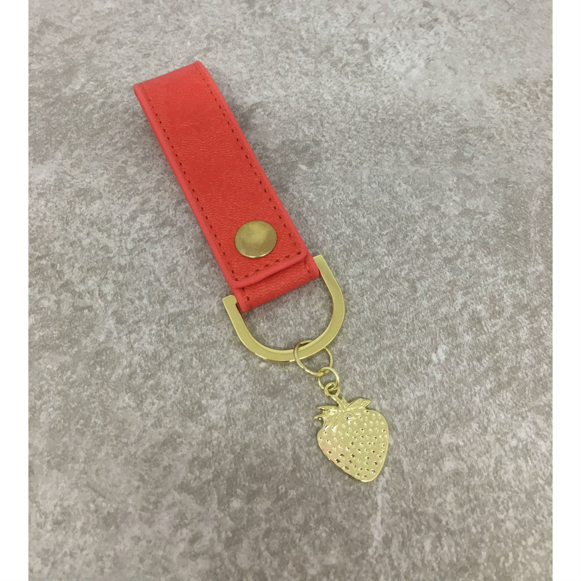 Sky + Miller Strawberry Faux Leather Keyring