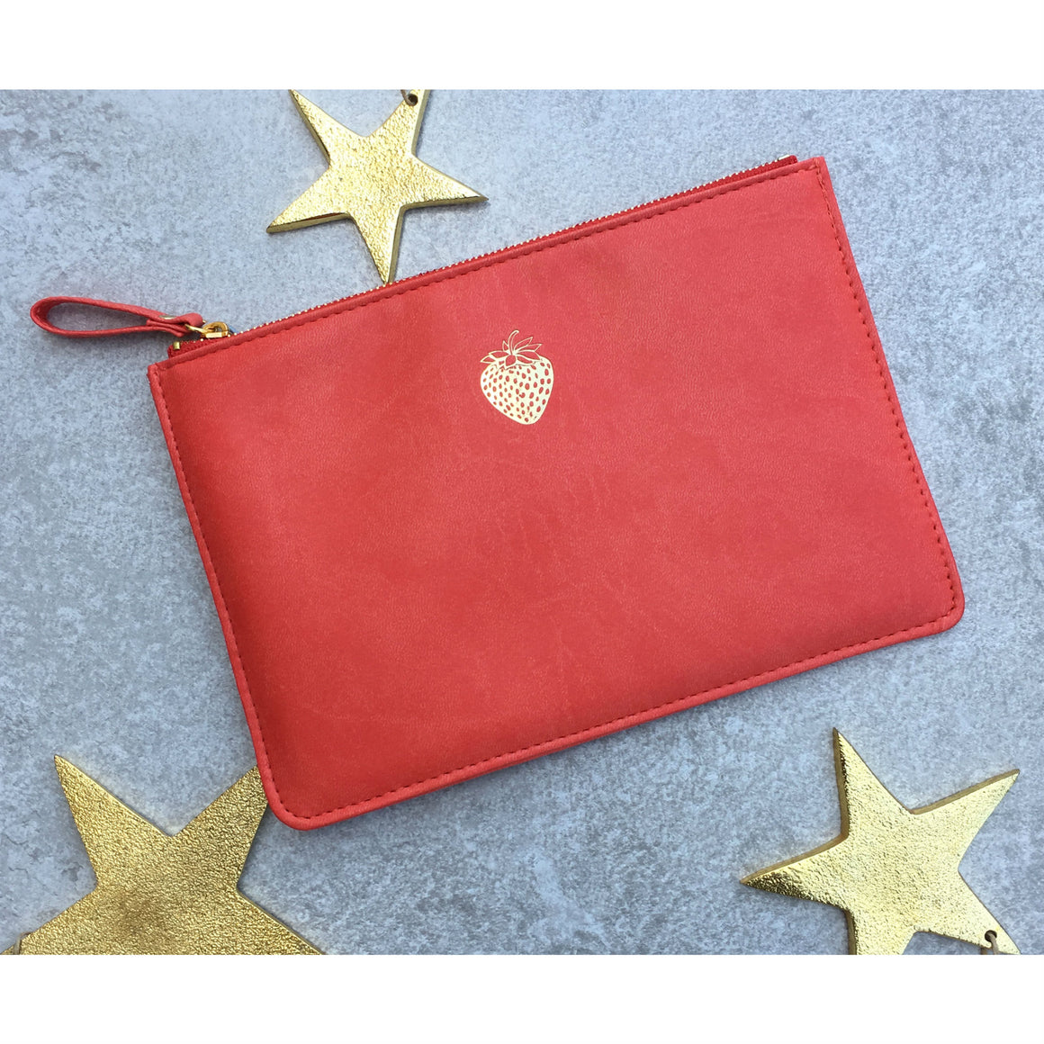 Sky + Miller Strawberry Faux Leather Pouch - The Love Trees