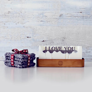 Hidden message candle 'I love you' wooden tray