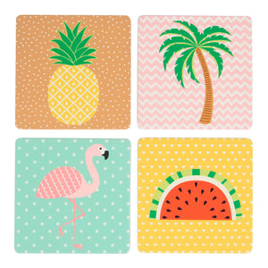 Set Of 4 Tropical Summer Coasters - The Love Trees
