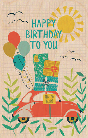 Birthday Car Wooden Postcard Greeting Card - The Love Trees