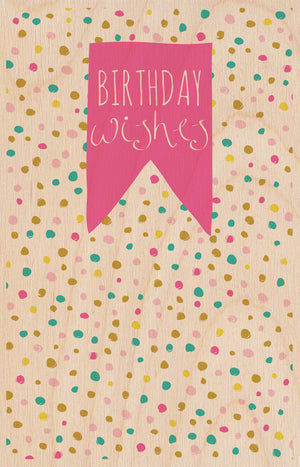 Birthday Dots Wooden Postcard Greeting Card - The Love Trees