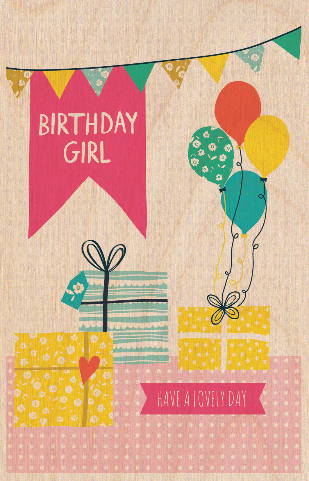 Birthday Girl Wooden Postcard Greeting Card - The Love Trees
