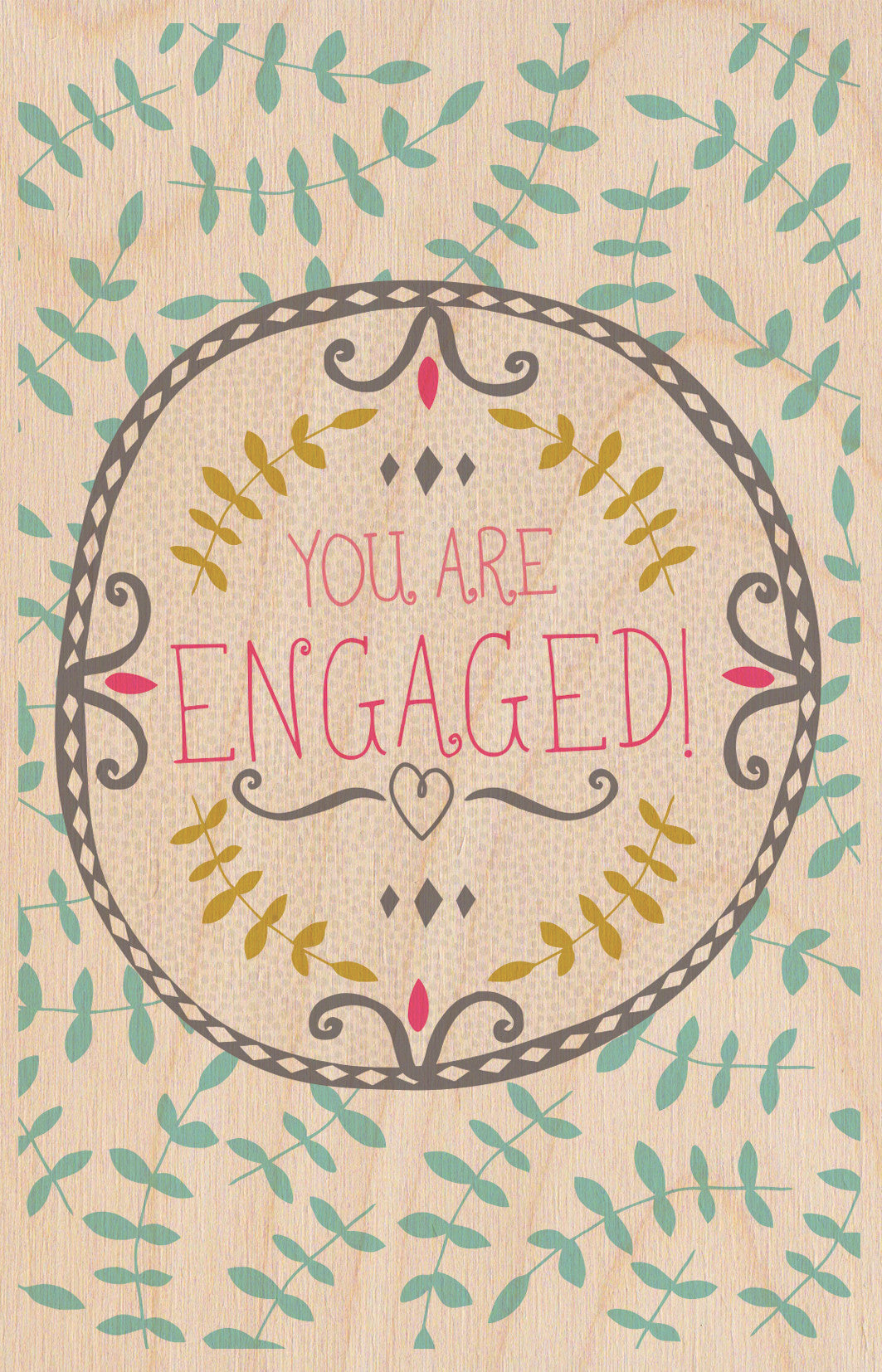 You Are Engaged Wooden Postcard Greeting Card - The Love Trees