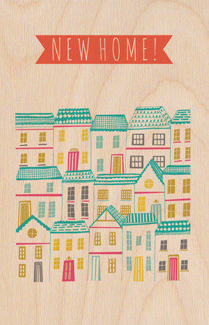 New Home Houses Wooden Postcard Greeting Card - The Love Trees