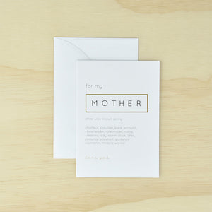 KaiserStyle 'For My Mother...' Monochrome Greetings Card - The Love Trees