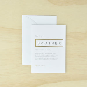 KaiserStyle 'For My Brother...' Monochrome Greetings Card - The Love Trees
