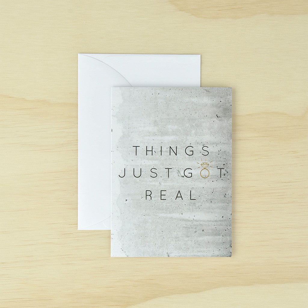 KaiserStyle 'Things Just Got Real' Monochrome Greetings Card - The Love Trees