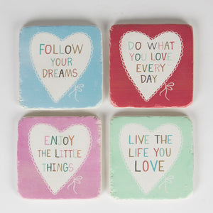 Set of 4 Love Lovely Sayings Coasters