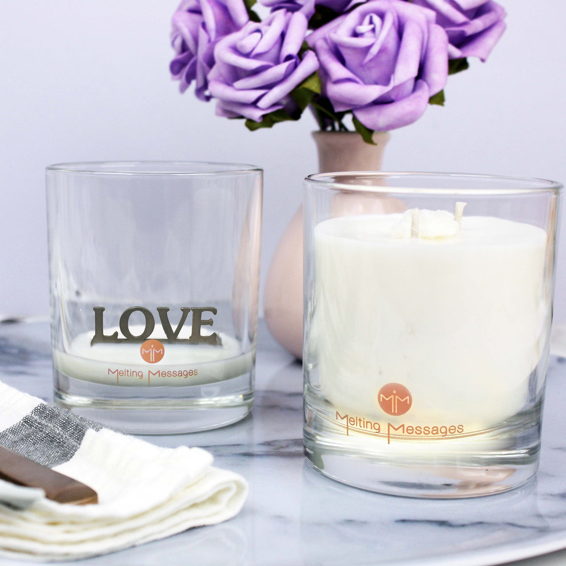 Melting Messages 'Love' Silver Candle - The Love Trees