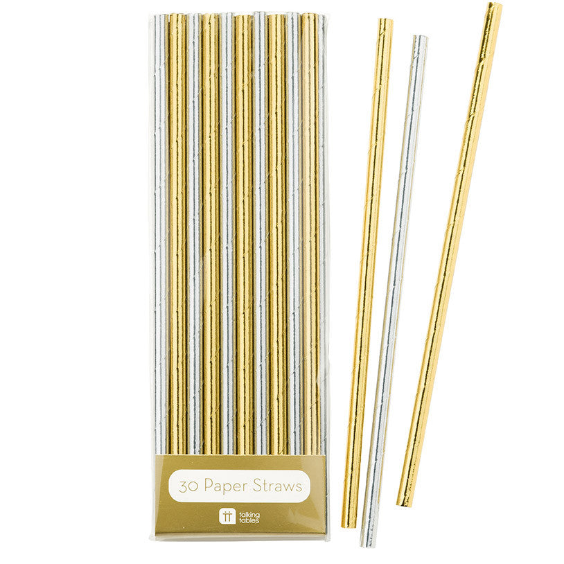 Modern Metallics Gold & Silver Foil Straws - The Love Trees