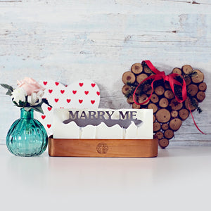 Hidden message candle 'marry me' wooden tray