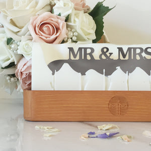 Melting Messages 'Mr & Mrs' Wooden Tray Candle - The Love Trees