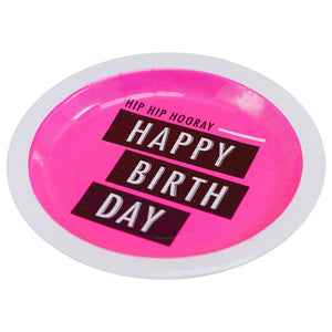 Happy Birthday Pink Paper Plates - Neon Birthday - The Love Trees
